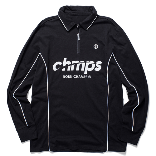 [BORNCHAMPS] CMPS ZIP-UP SHIRT BLACK CERCMTS01BK