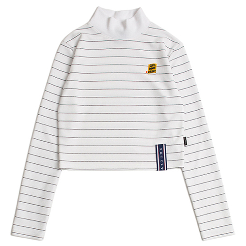 [ROMANTICCROWN WOMAN] STRIPE KNIT TURTLENECK WHITE
