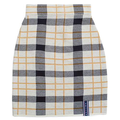 [ROMANTICCROWN WOMAN] TARTAN CHECK KNIT SKIRT OATMEAL