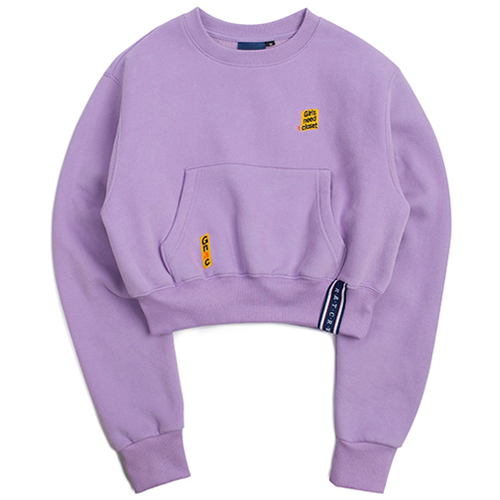 [ROMANTICCROWN WOMAN] POCKET CROP SWEAT SHIRT PURPLE