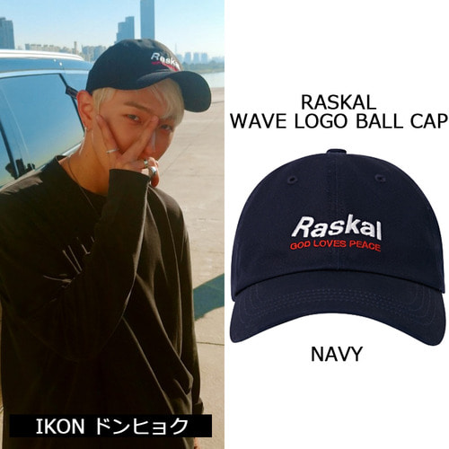 [RASKAL]WAVE LOGO BALL CAP  NAVY
