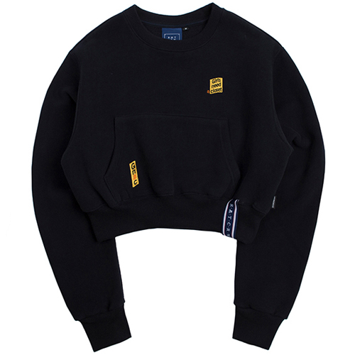 [ROMANTICCROWN WOMAN] POCKET CROP SWEAT SHIRT NAVY