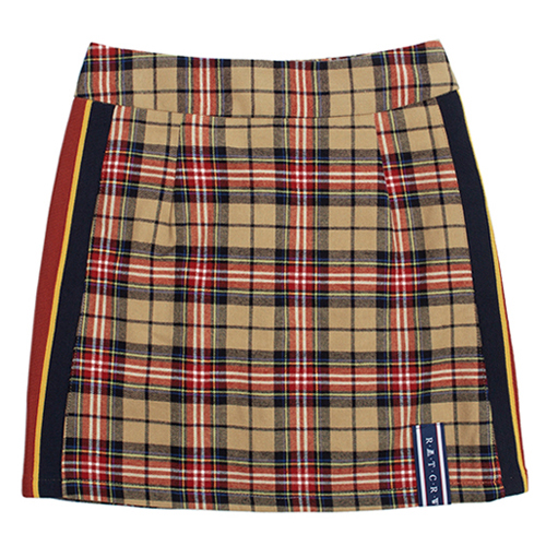 [ROMANTICCROWN WOMAN] BAND LINE CHECK SKIRT BEIGE