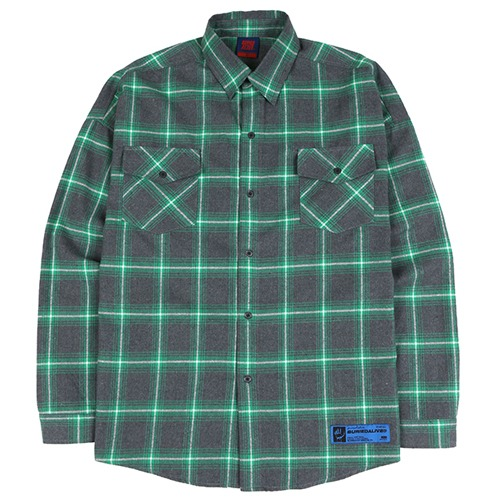 [BURIEDALIVE] BA SPRINT CHECK SHIRTS GREEN