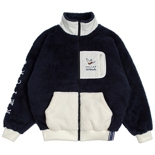 [ROMANTICCROWN][R.C X M.G]POCKET HEAVY FLEECE JACKET NAVY