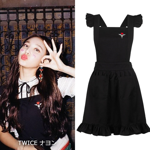 [CLUT STUDIO]0 7 apron mini dress- BLACK_TWICEナヨン