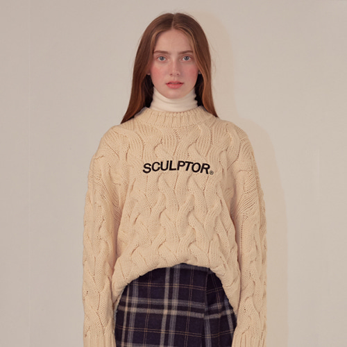 [SCULPTOR] Big Cable Knit Sweater [CREAM]