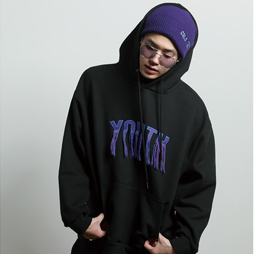 [JUSTO] YOUTH EMBROIDERED HOODIE BLACK