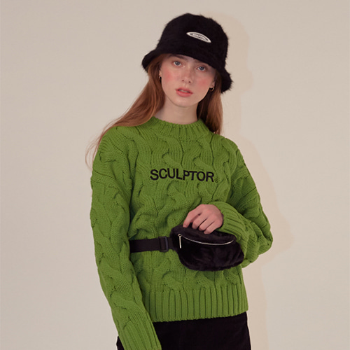 [SCULPTOR] Big Cable Knit Sweater [GREENERY]