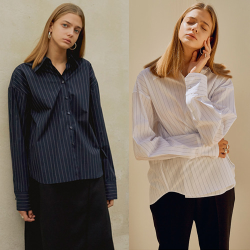 [MOHAN]18FW PINSTRIPE ASYMMETRIC SHIRT 2COLOR