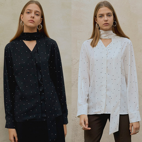 [MOHAN]18FW DOT TIE BLOUSE 2COLOR