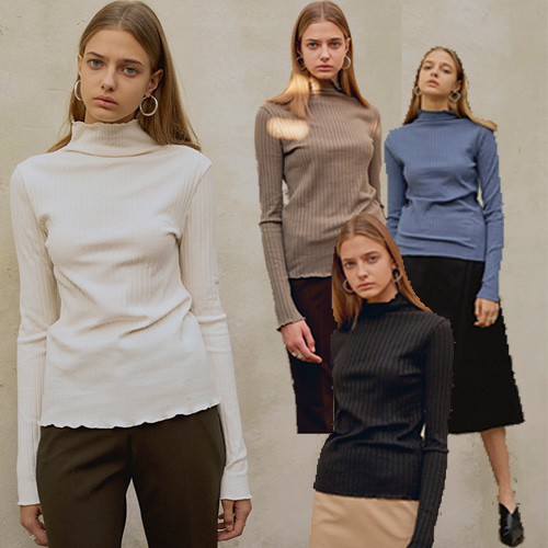 [MOHAN]18FW LOW CUT SLIM TURTLENECK TOP 4COLOR