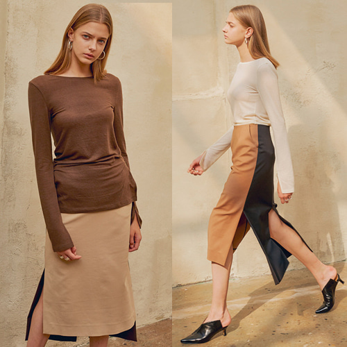 [MOHAN] 18FW COLOR COMBI SLIT SKIRT 2COLOR