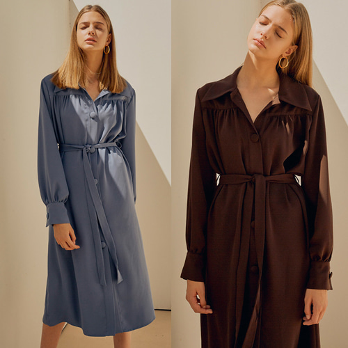 [MOHAN] 18FW COLLAR SHIRRING DRESS 2COLOR