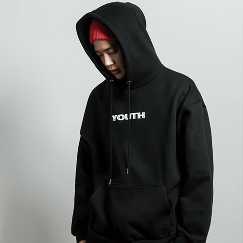[JUSTO] YOUTH PRINTED HOODIE BLACK