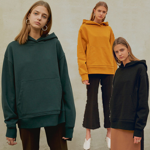 [MOHAN]18FW UNBLANCE SQUARE NECK HOOD TOP 3COLOR