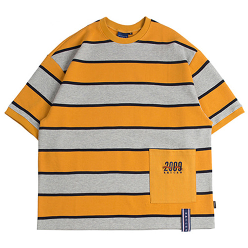 [ROMANTICCROWN] STRIPE POCKET T-SHIRT MUSTARD