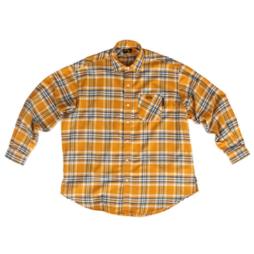 [A PIECE OF CAKE]Oval Logo Check Shirts_Yellow