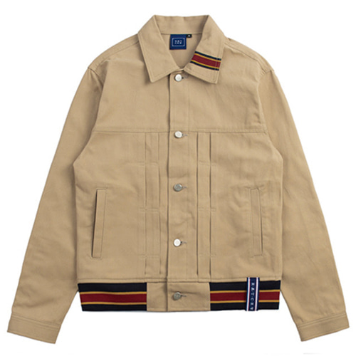 [ROMANTICCROWN] COLOR TAPE TRUCKER JACKET BEIGE