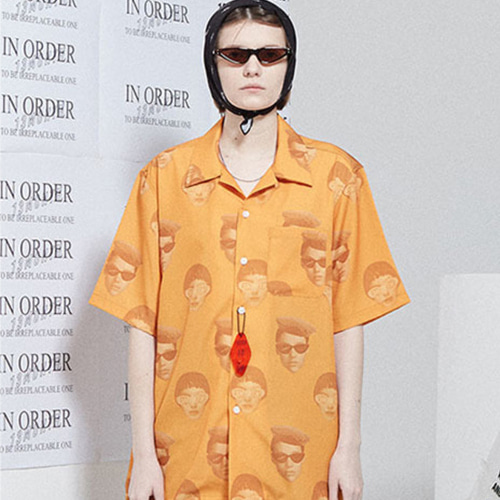 [13month]FACE PRINTING ALOHA SHIRT ORANGE