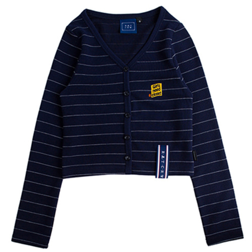 [ROMANTICCROWN] STRIPE KNIT CARDIGAN NAVY