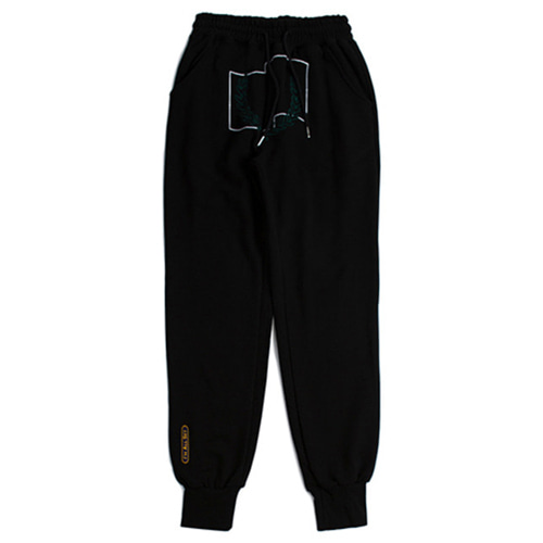[ROMANTICCROWN] LAUREL CROWN JOGGER PANTS BLACK