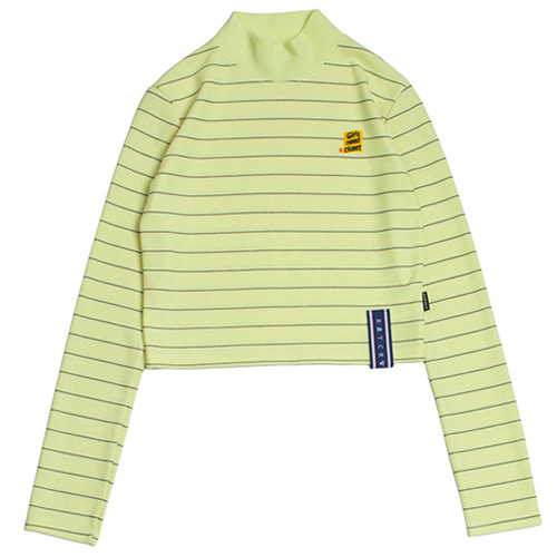 [ROMANTICCROWN WOMAN] STRIPE KNIT TURTLENECK BUTTER