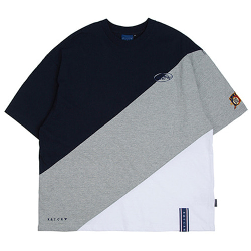[ROMANTICCROWN] DIVISION COLOR BLOCK T-SHIRT GREY