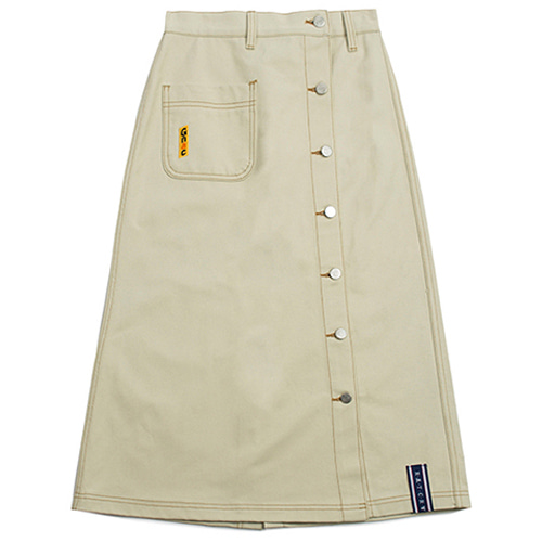 [ROMANTICCROWN WOMAN] FRONT POCKET COTTON SKIRT BEIGE