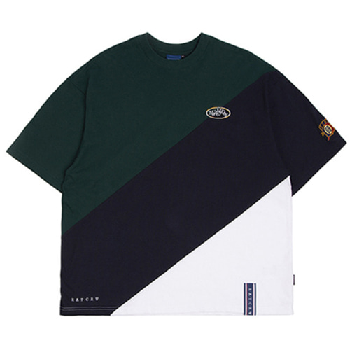 [ROMANTICCROWN] DIVISION COLOR BLOCK T-SHIRT NAVY