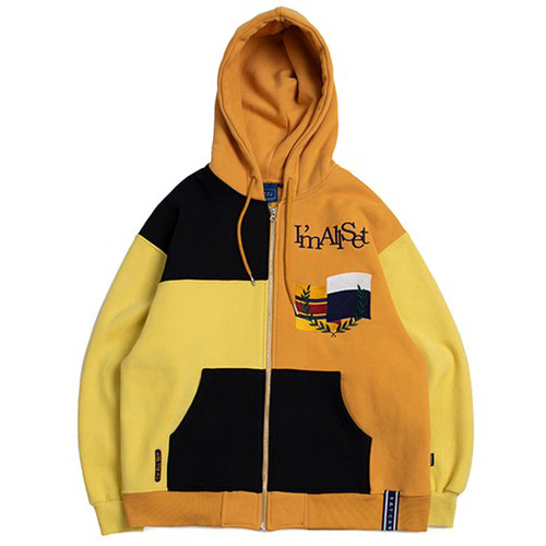[ROMANTICCROWN] COLOR BLOCK HOOD ZIP UP BUTTER
