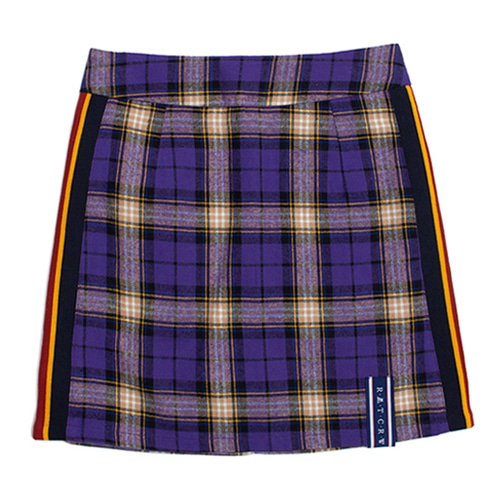 [ROMANTICCROWNWOMAN] BAND LINE CHECK SKIRT PURPLE
