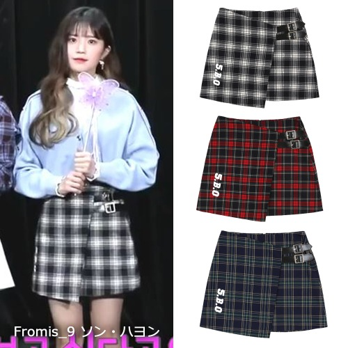 [5252BYOIOI]CHECK BELT SKIRTS 3color