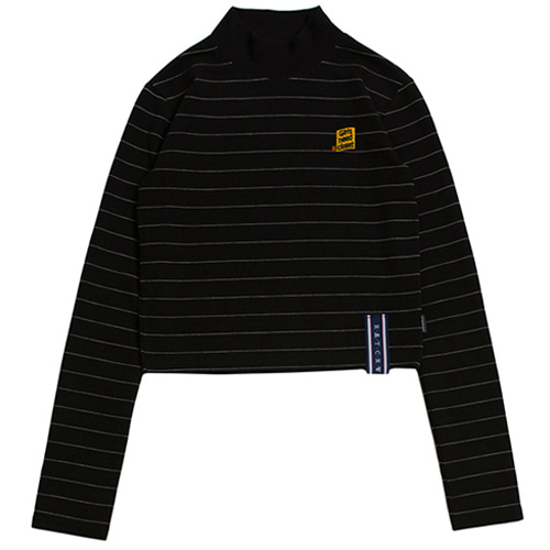 [ROMANTICCROWN WOMAN] STRIPE KNIT TURTLENECK BLACK