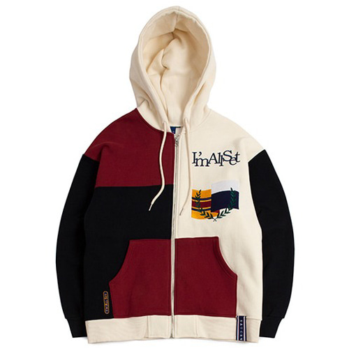 [ROMANTICCROWN] COLOR BLOCK HOOD ZIP UP NAVY