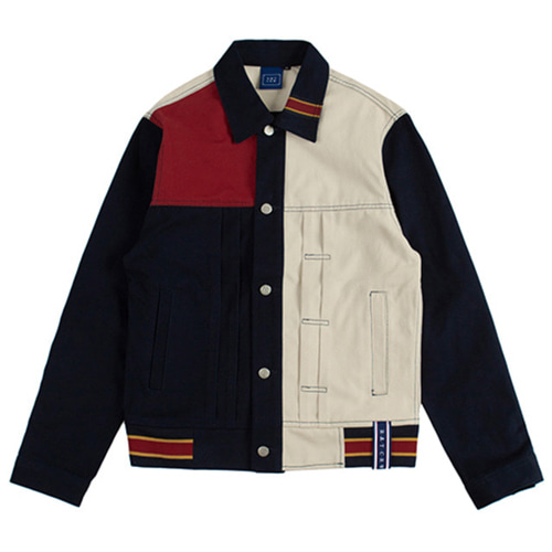 [ROMANTICCROWN] COLOR BLOCK TRUCKER JACKET NAVY_STRAY KIDSチャンビン
