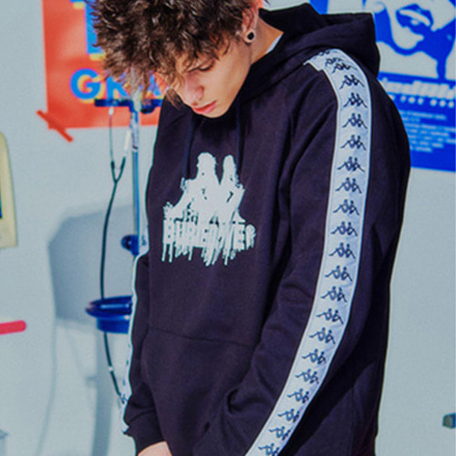 [BURIEDALIVE]BA X KAPPA HOODY FULL OVER BLACK