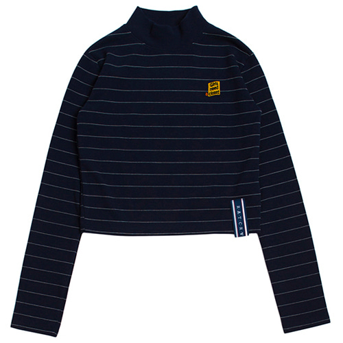 [ROMANTICCROWN WOMAN] STRIPE KNIT TURTLENECK NAVY