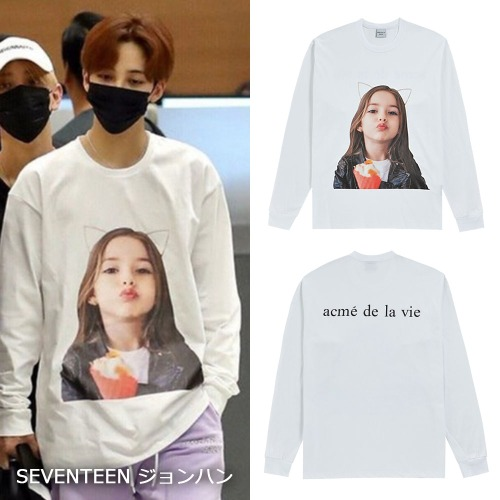 [ACME DE LA VIE]BABY FACE LONG SLEEVE T-SHIRT WHITE_SEVENTEEN