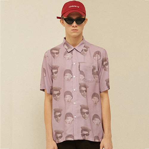 [13month]FACE PRINTING ALOHA SHIRT (PURPLE)