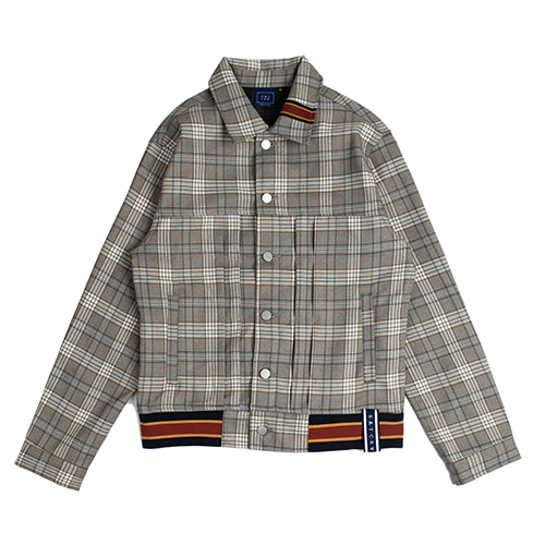 [ROMANTICCROWN] COLOR TAPE CHECK JACKET GREY