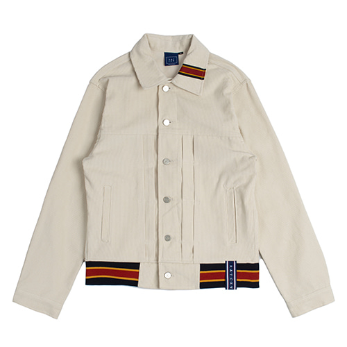 [ROMANTICCROWN] COLOR TAPE CORDUROY JACKET OATMEAL