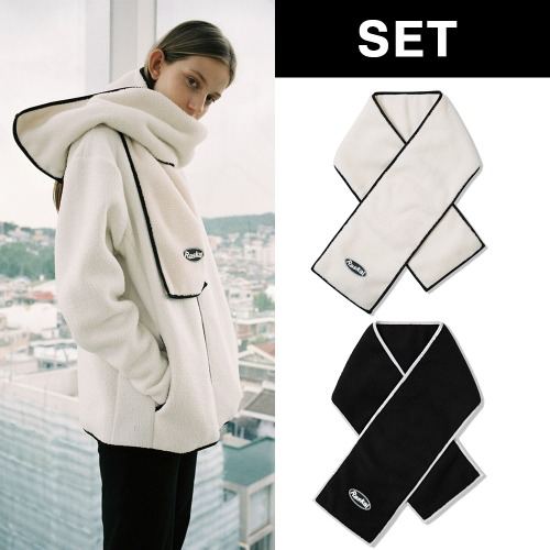 [RASKAL] SHEEP FLEECE MUFFLER (SQURE) 2COLOR SET