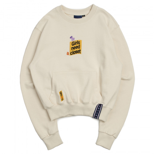 [ROMANTICCROWN WOMAN] POST LOGO POCKET SWEATSHIRT OATMEAL