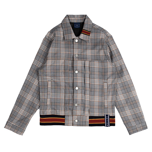 [ROMANTICCROWN] COLOR TAPE CHECK JACKET BLACK