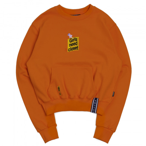 [ROMANTICCROWN WOMAN] POST LOGO POCKET SWEATSHIRT ORANGE