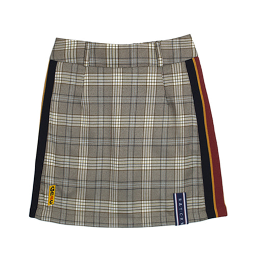 [ROMANTICCROWN WOMAN] GNAC CHECK SKIRT GREY