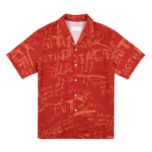 [13MONTH] GRAFFITI HALF SLEEVE SHIRT RED