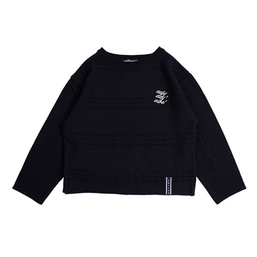 [ROMANTICCROWN] TRIPLE CHAIN KNIT NAVY