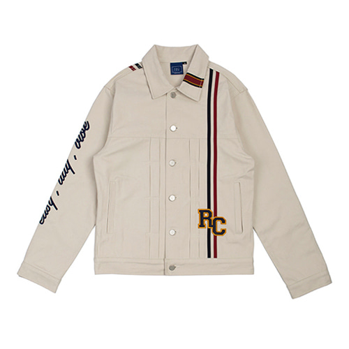 [ROMANTIC CROWN] RC DOUBLE LINE TRUCKER JACKET OATMEAL